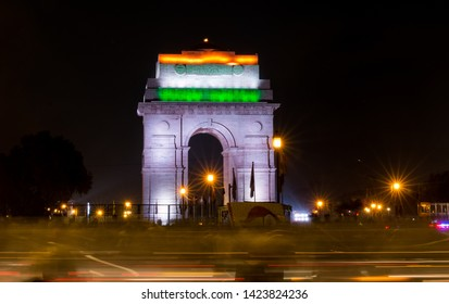 Light Trail - Tri color lights covered on streets and on India Gate on Republic Day celebrations  : Delhi, Delhi/India - Jan 2019