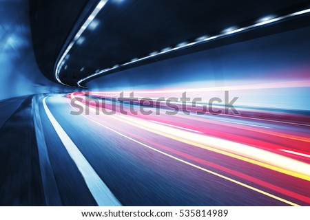 Light trail in tunnel