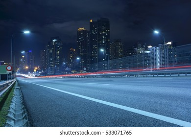 Light trail vehicles at highway