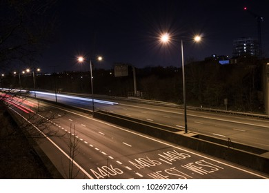 Light trails in A406 motorway, London
