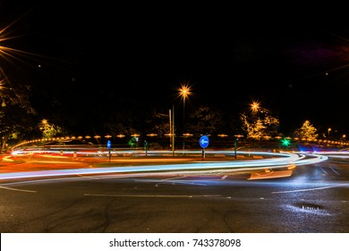 Light trails around a roundabout