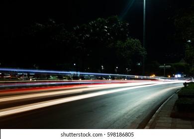 light trails in bangkok.