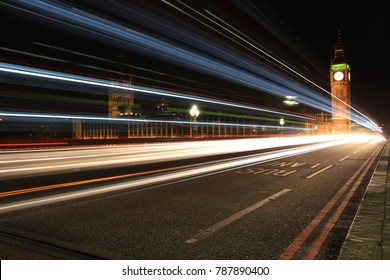 Light trails of cars crossing Westminster Bridge, London with Big Ben in the background taken at night at long exposure