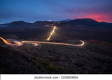 Light trails of cars at La Plaine des Sables in Reunion Island