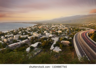 Light trails of cars on the tamarin road in Saint Paul, Reunion Island