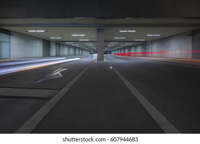 Light Trails of Cars in Tunnel