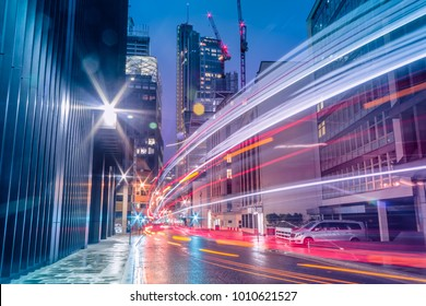 Light trails in the downtown district of London. Long exposure
