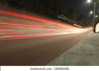 light trails highway