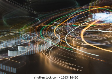 Light trails in Lineage. Art image. Long exposure photo taken in a Lineage.