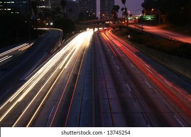 Light Trails Los Angeles Freeway at Night