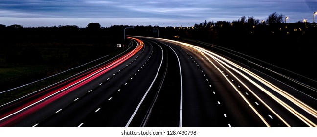 Light Trails M4 Mororway, Swindon , Wiltshire, UK,