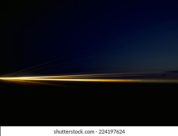 Light trails at night, blurred