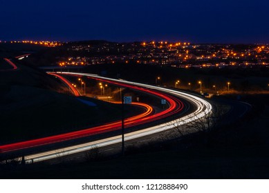 Light trails on the A27 north of Hangleton, Hove. The junction with the A293 is a particularly busy intersection.