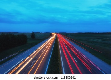 Light trails on busy evening highway