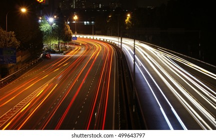 Light trails on a busy road