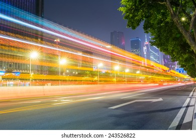 light trails on the city road in guangzhou pearl river new town