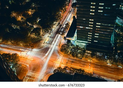 Light trails on a crossing in Tokyo