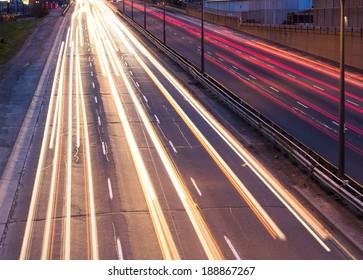 Light trails on the Gardiner Expressway in Toronto