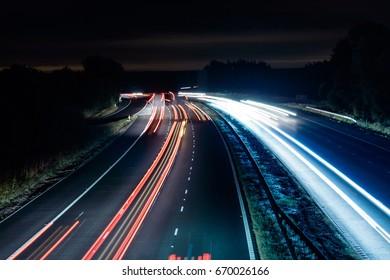 light trails on highway motorway in uk england m40, traffic transport