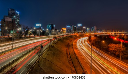 Light trails on a highway at night