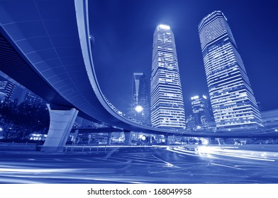 the light trails on the modern building background in shanghai china