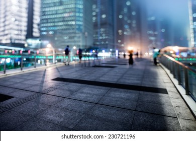 the light trails on the modern building background in shanghai chin