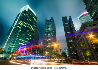 The light trails on the modern buildings background in shanghai china