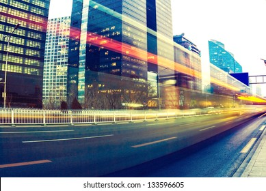 light trails on the modern city at dusk in beijing,China