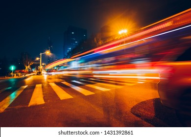 light trails on road at night,nanjing,china.