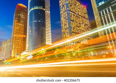 light trails on the street in guangzhou ,China.