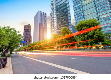 light trails on the street in Hangzhou ,China.