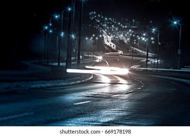 Light trails on the street in kuala lumpur, Malaysia