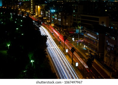 light trails on the street at night city