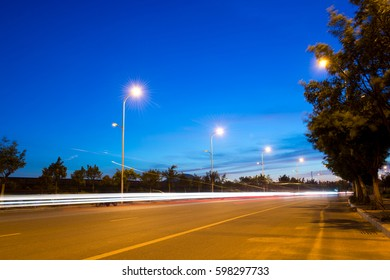 the light trails on the street at night.