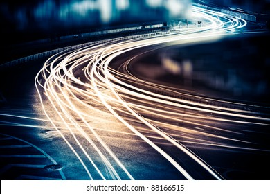 the light trails on the street in shanghai china. - Shutterstock ID 88166515