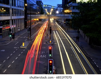 Light Trails From an Overpass in Central London - April 2017 - London, England