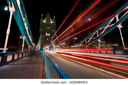 Light trails produced by busses and cars on the Tower Bridge in London.