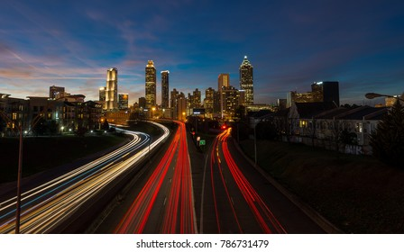 light trails as seen from Jackson street bridge Atlanta, Georgia