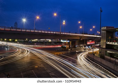 Light Trails from Traffic on a Busy Road
