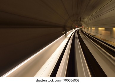 light trails in an train tunnel
