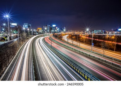 Light trails from vehicles on motorway at night seoul,korea