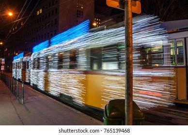 Light tram in Budapest , night decoration