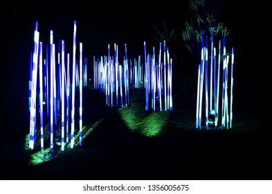 light tubes illuminated like giant glow sticks at night in park during holidays