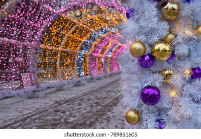 The light tunnel on Tverskoy Boulevard/ New Year decorations in Moscow, Russia