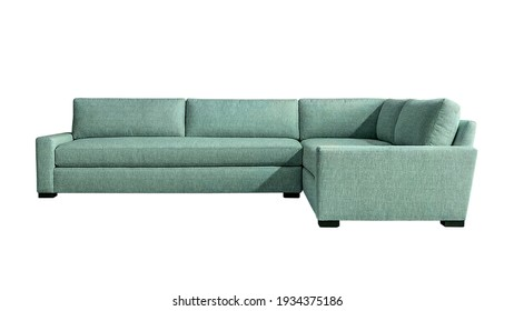Light turquoise fabric angular sofa on dark wooden legs isolated on white background. Series of furniture