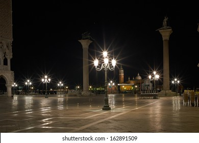 The Light of Venice Long exposure By Night. Blurred motion on curtain due to sea movement.