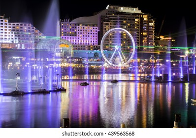Light and water fountains show at Darling Harbour, Sydney Australia