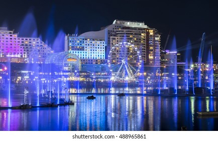 Light and water fountains show at Darling Harbour