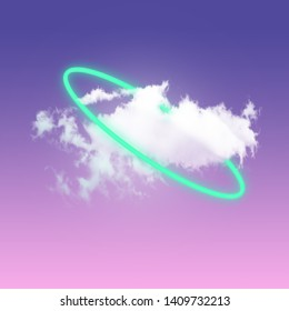 A light and white little cloud in centre of gradient pink-purple clear sky rounded by green neon circle. Negative space to insert text. Modern design. Contemporary art collage.