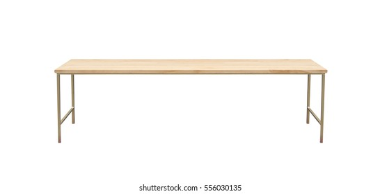 Light wide wooden table, isolated on white background